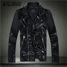 AILOOGE 2017 Men's Genuine Leather Diamonds Skull Man's Punk Sheep Skin Coat Motorcycle Fashion Brand Mens Slim Parka Jackets