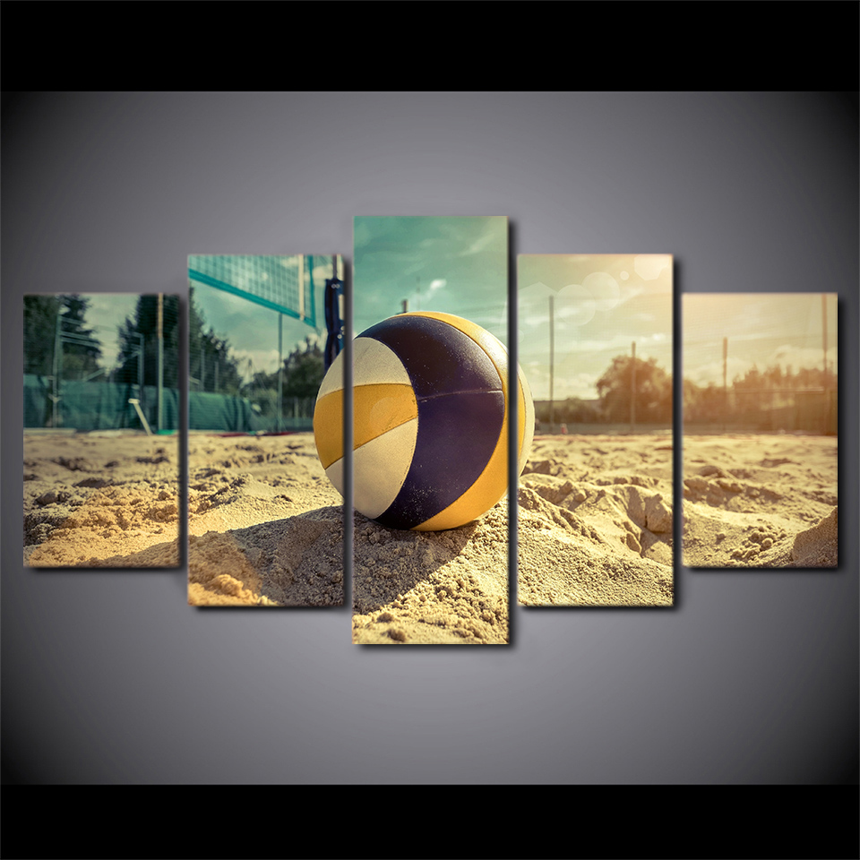 Artryst Wall Art Pictures Canvas HD Printed Modern Home Decor 5 Pieces Beach Volleyball Sport Painting Summer For Living Room in Painting Calligraphy from Home Garden