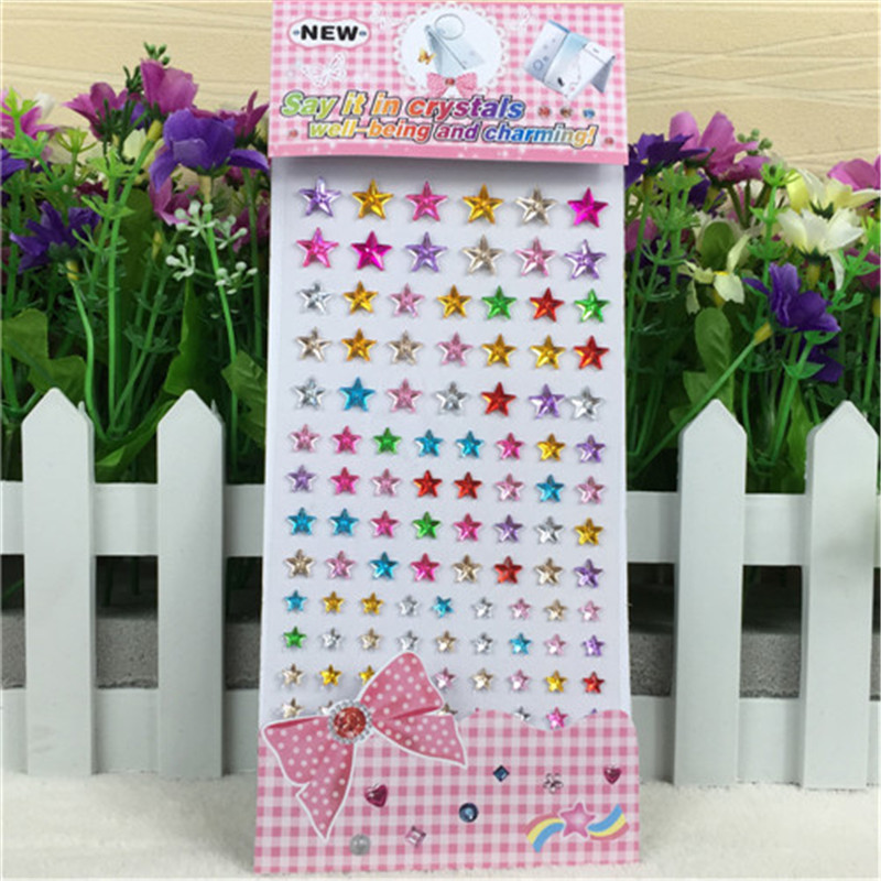 Childrens toy crystal Star Stickers Kids New Toys Self Adhesive Multicolor 3d Children Crafts And Scrapbooking Acrylic Sticker