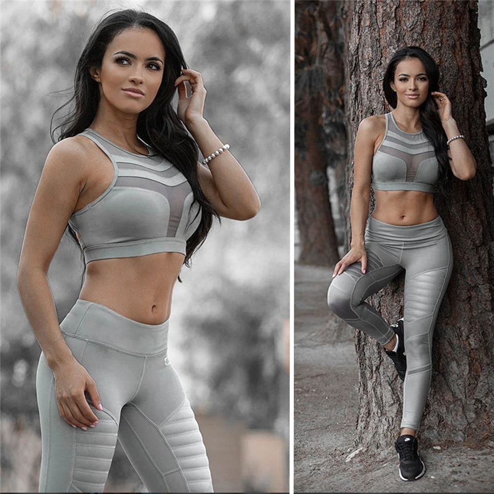 Yoga Suits Sportswear Women High Waist Stretch Jogging Suits Gym Tight Fitness Sport Suits Push Up Bra Leggings Running Set sexy sports bra and leggings