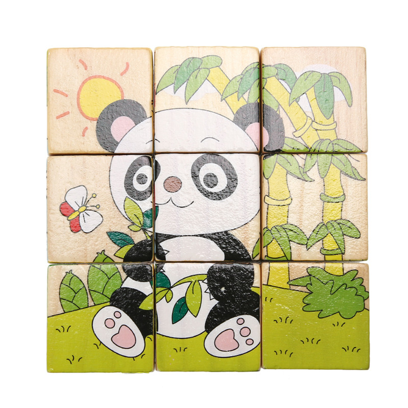 9pcs/lot Six Sides Wooden Puzzle Cube Baby Kids Learning Educational Toys 3D Panda Print Jigsaw Puzzle Montessori Wood Toy Gift