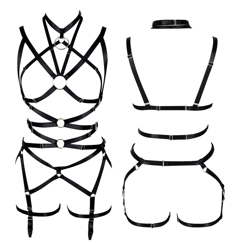 Women Top Cage Strappy Bra Harness Chest Belt Elastic Underwear Harajuku Steampunk Stockings Suspender Plus Size Adjust Party