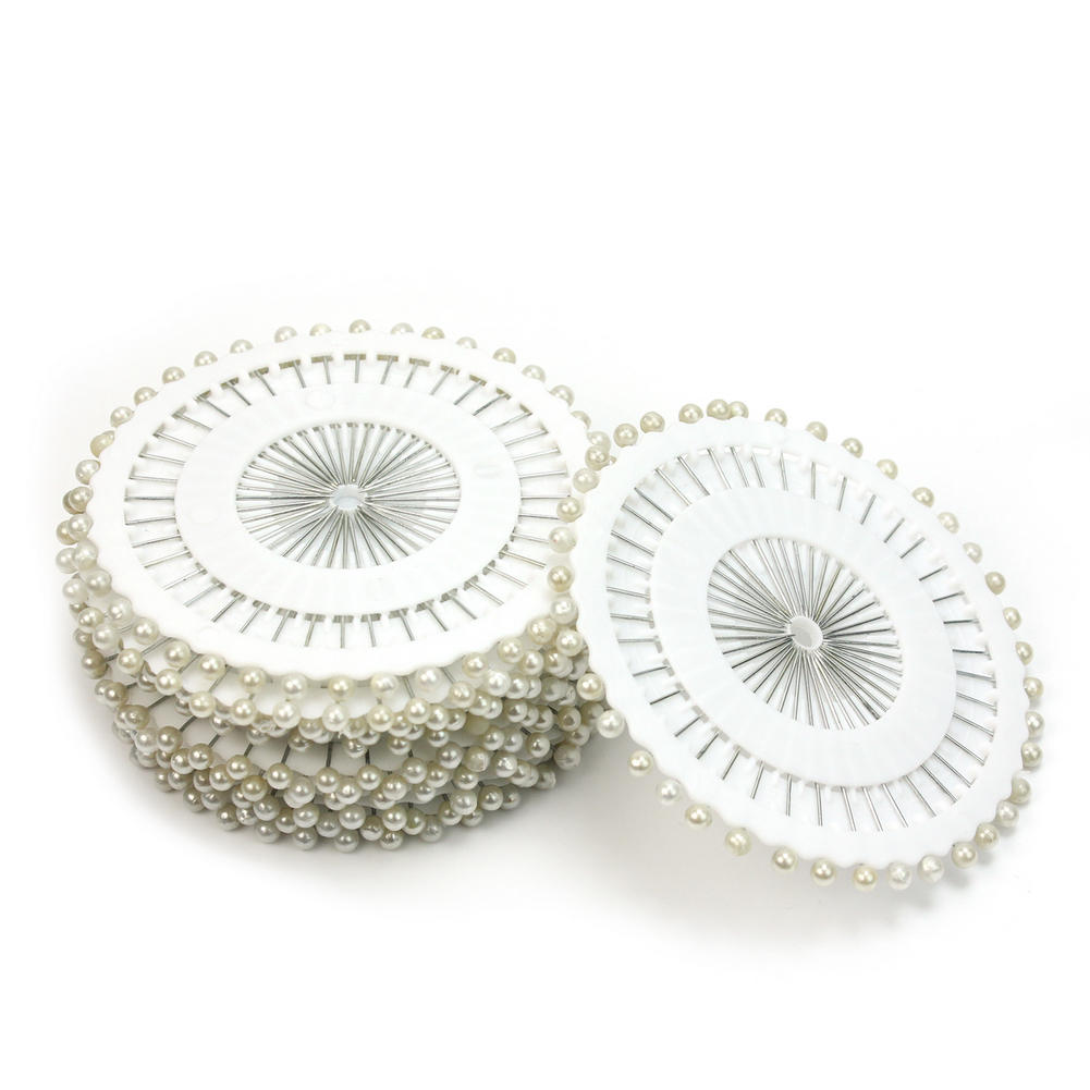 480x White Round Head Straight Pins Dressmaking Faux Pearl Corsage Clothing Sewing Needle Pin DIY Accessories