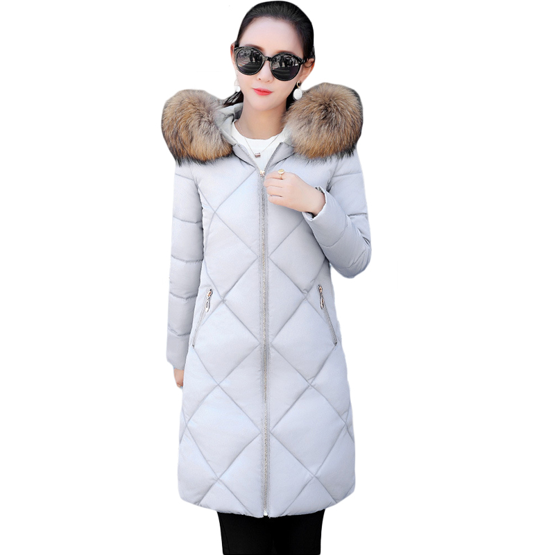 2017 New Winter Jacket Women Long Slim Large Faux Fur Collar Hooded Women Down Cotton Parkas Thick Female Wadded Coats CM1615 winter feather cotton women outwear long section thick section slim hooded coats large fur collar large size down jacket lx165