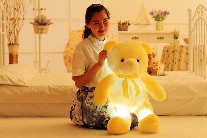 Colorful Glowing Stuffed Teddy Bear - Use As Kid's Pillow Also