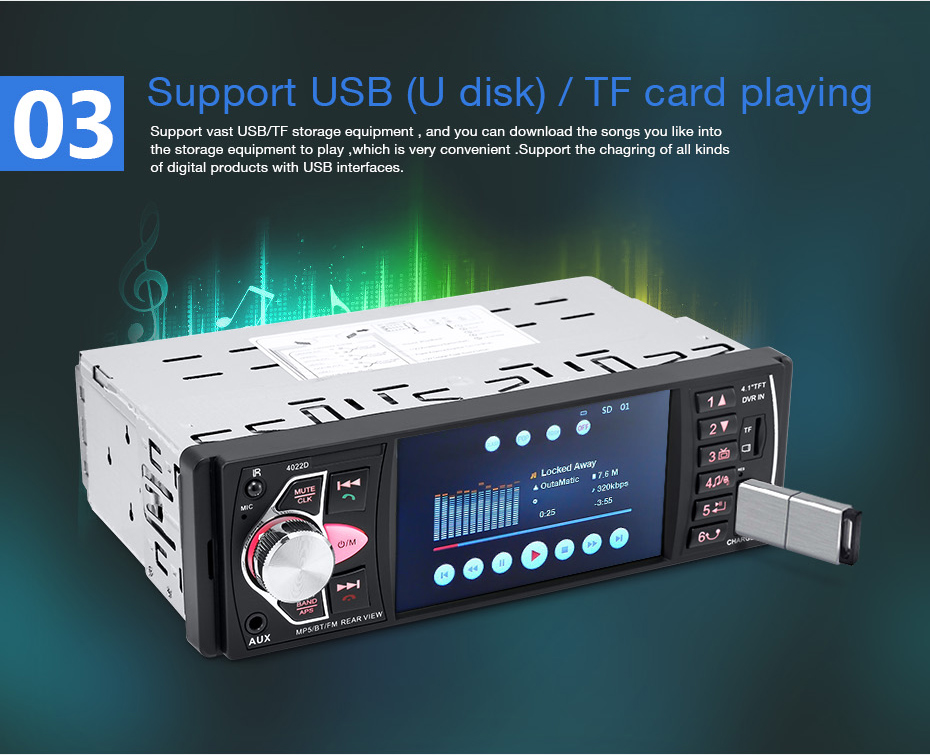 4022D 4 1 inch 1 Din Car Radio Auto Audio Stereo autoradio Bluetooth  Support Rear View Camera USB Steering Wheel Remote Control