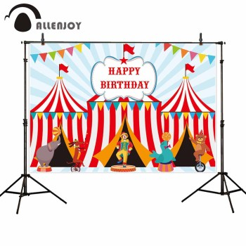 Allenjoy photography background carnival theme colorful banners animal Circus happy birthday party photoshoot photobooths image