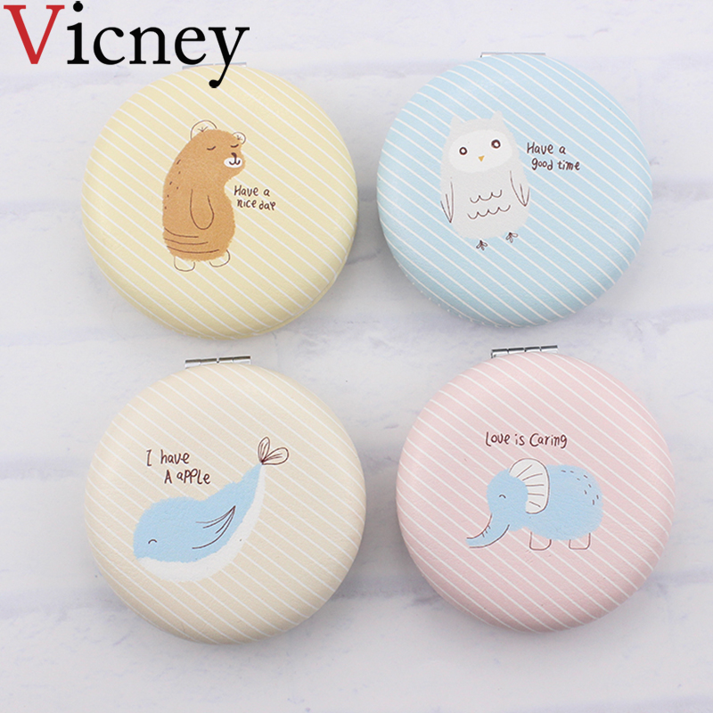 Vicney Mini makeup Compact Pocket Mirror cartoon Portable Two-side Folding Makeup Vintage Cosmetic Mirrors