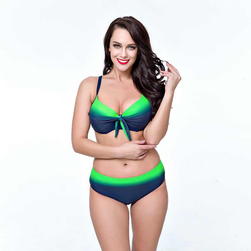 c94c48d36437d High quality Plus Size Gradient Retro Sexy Women Bikini Swimwear Solid Big  Breast Lady Swimsuit Summer