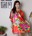 New Arrival Red Chinese Women's Rayon Robe Summer Lounge Sleepwear Traditional Kaftan Bath Dress Gown Flower Plus Size 6XL S4011