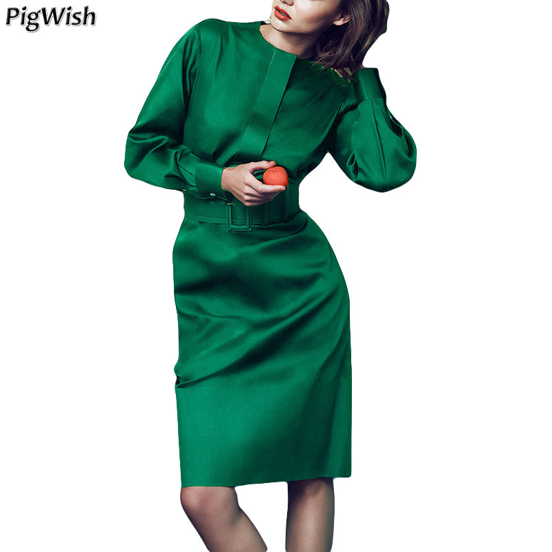 2018 New Spring Autumn Elegant Long Sleeve Party Dress Women Slim Office Dress Fashion Ladies Work Runway Dress Green Dresses avanti piccolo avanti piccolo комплект майка и шорты для мальчика голубой серый