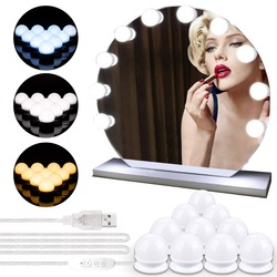10 LEDs Bulb Hollywood Style Makeup Mirror Light Dimmable 3 Mode USB Plug LED Vanity Mirror Lamp Kit Lens Headlight Dresser Lamp