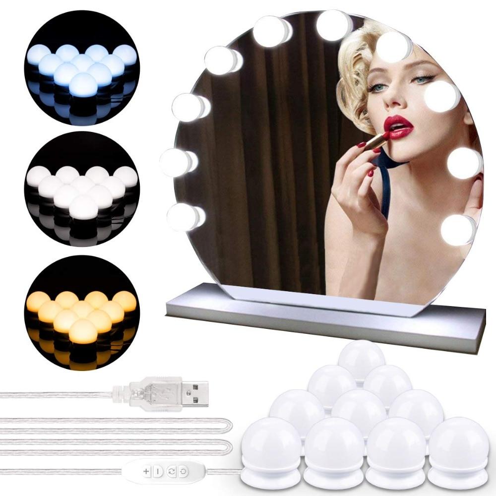10 LEDs Lâmpada Estilo Hollywood Maquiagem Espelho de Luz Pode Ser Escurecido 3 Modo USB Plug LED Vanity Espelho Lâmpada Kit Farol Lente lâmpada cômoda