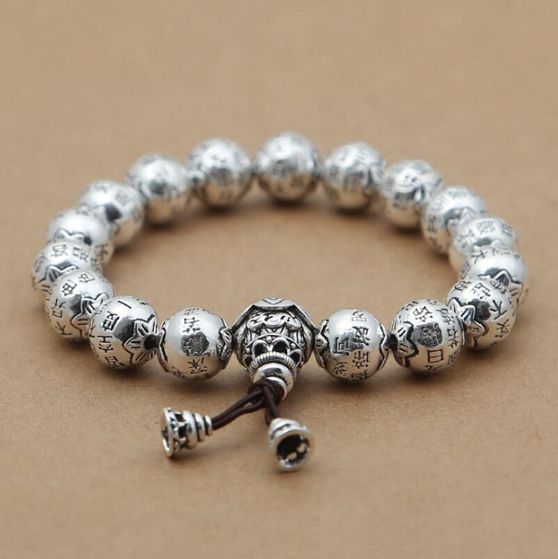 Чистое Серебро 925 серебро Ретро буддийский Серебряный Бисер Очарование Браслеты религиозный с изображением Будды, для медитации S925 ювелирные изделия (FGL)