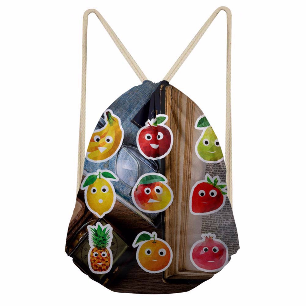 Noisydesigns Newest Bear School Fresh Fruits Drawstring Bag Couple Lover Shoe Backpack Pocket String Storage Rucksack