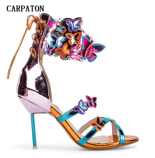 Luxury women sexy high heel sandals open toe colorful butterfly decoration back strap women party shoes gold blue pink shoes ladies 1 7 sexy pointed toe back strap western mixed color high heel sandals shoes women big size shoes 4 14 pink blue white