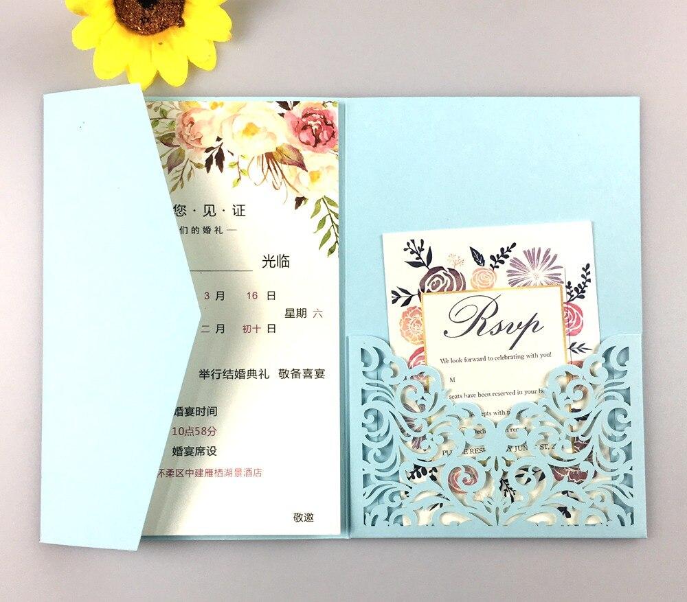50pcs lot halloween trifold card pocketfold Wedding invitation Cards three fold pocket Laser Cut invite Greeting