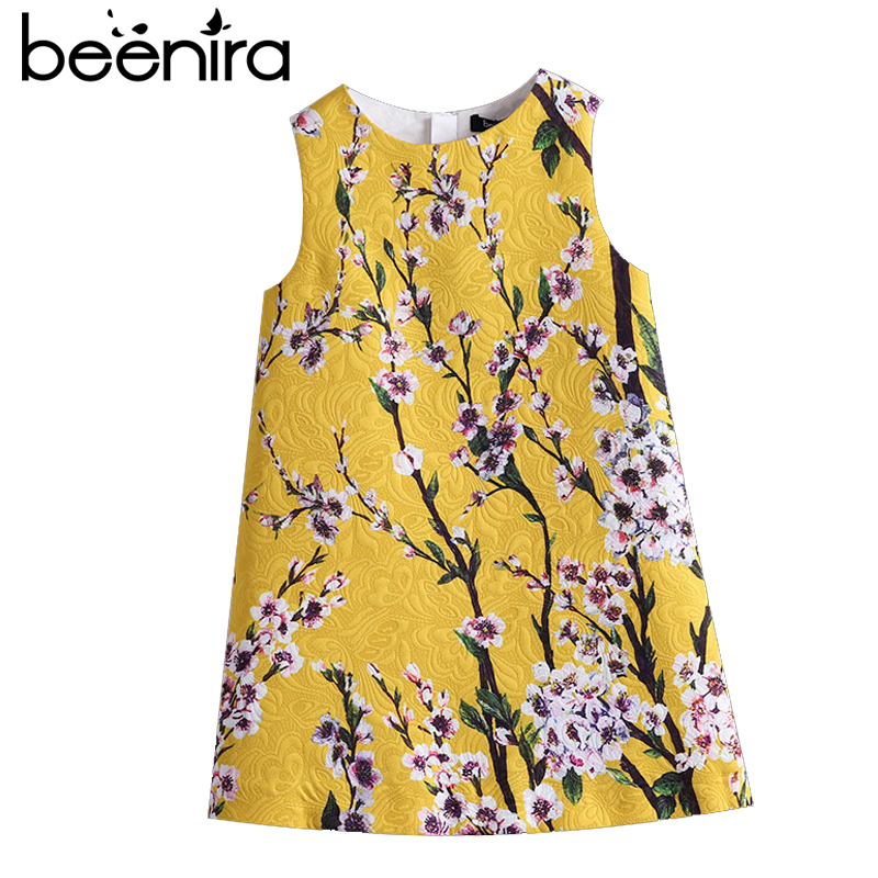 Beenira Girls Summer Dresses 2017 European And American Style Kids Sleeveless Flore Printed Party Dress Children Clothes Dress retro style sleeveless tiger stripes printed mini dress for women