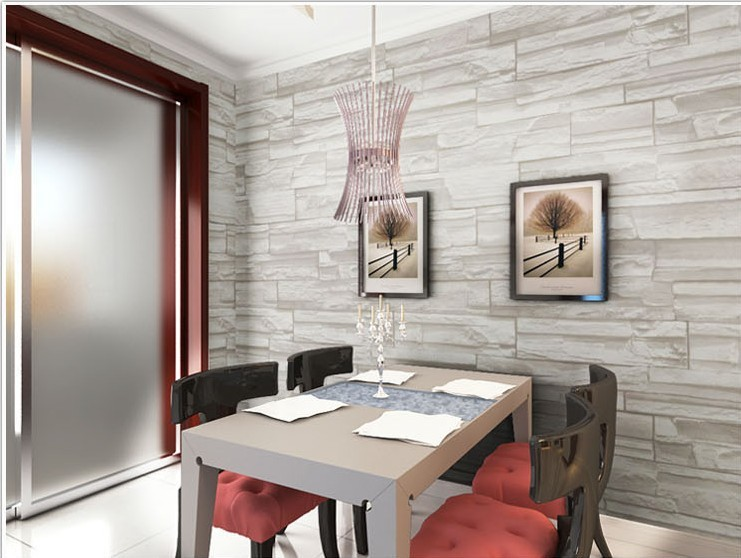 ... Chinese Style Dining Room 3D Wallpaper Stone Brick Design Background  Wall Vinyl Wallpaper Modern For Living ...