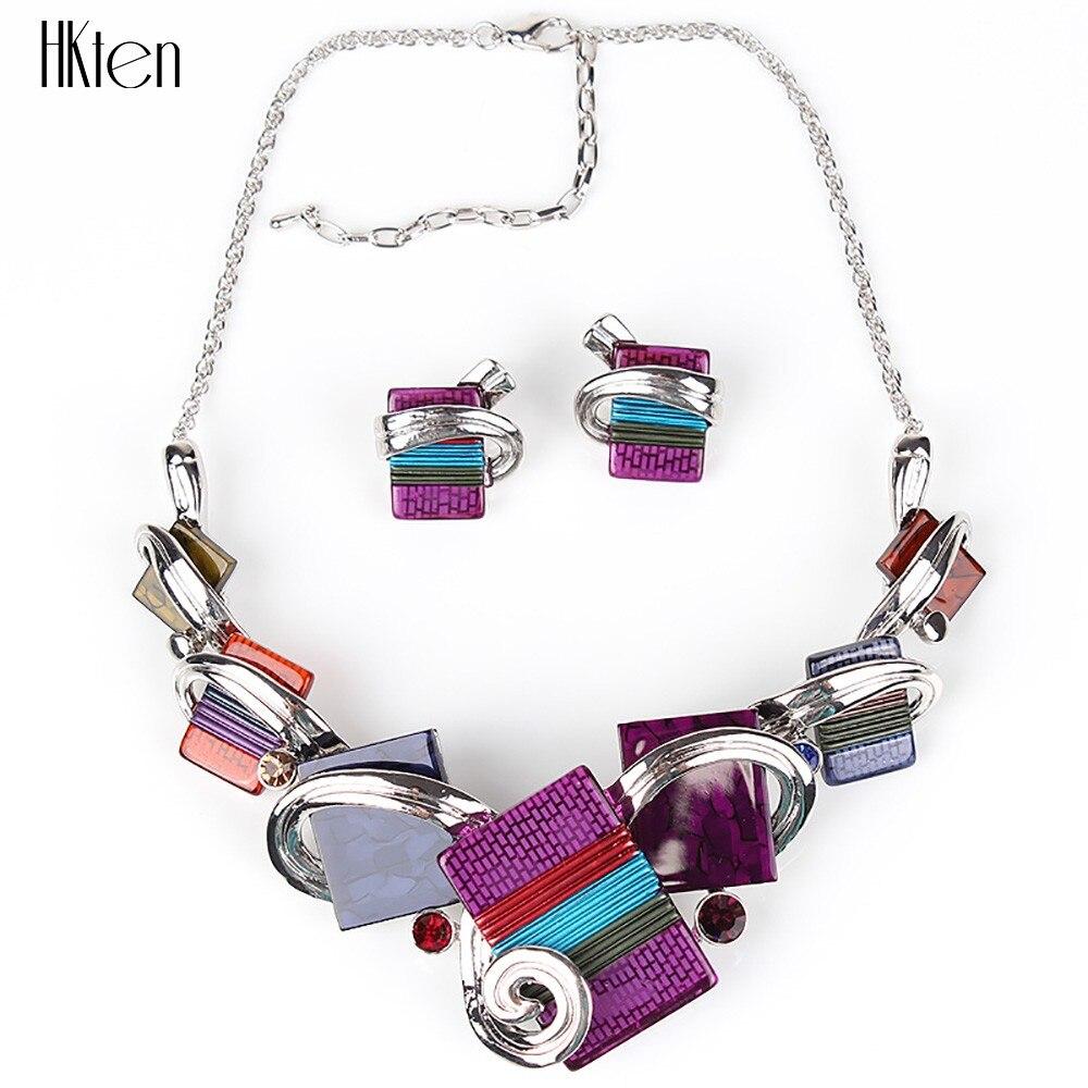 MS20676 модные ювелирные наборы, посеребренные фиолетовые/леопардовые/синие/серые цвета, уникальный дизайн, вечерние подарки, высокое качество