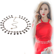 2019 new women belt dress rhinestone chain fashion design kroea cool ins style