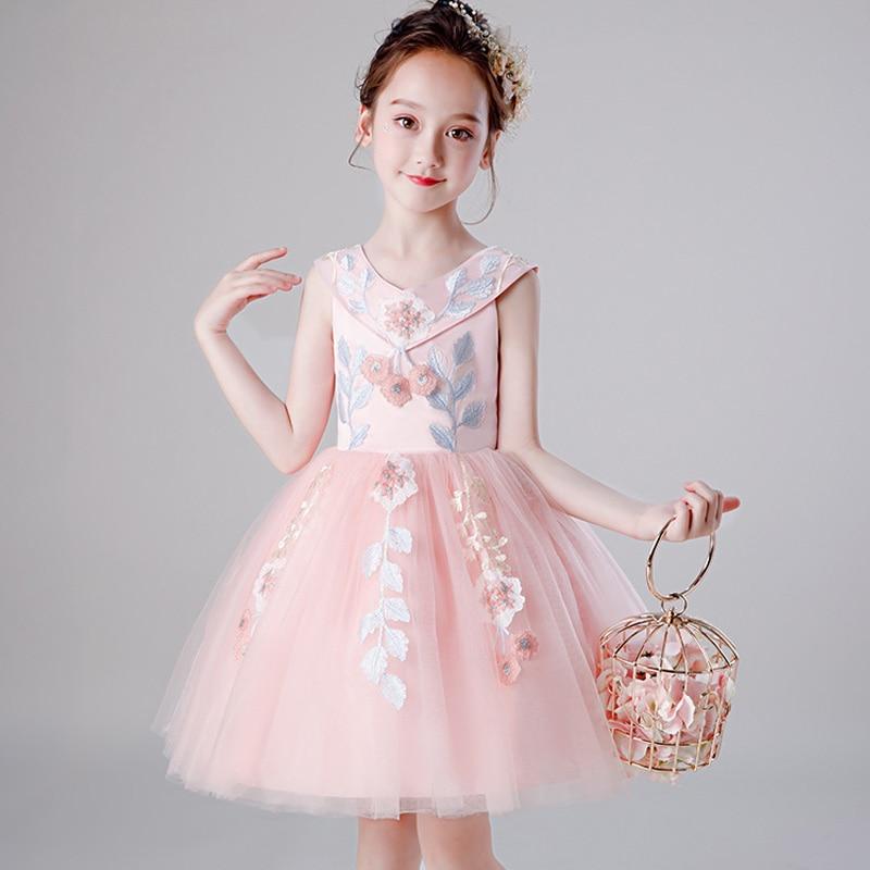 2019 Soft Tulle First Communion Dresses Girls Pageant Dress Kids Prom Dress Princess Ball Gown Pink Flower Girl Dresses