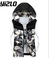 YIZLO Fashion Men S Casual Cotton Hooded Vest Camouflage Boy Vest 3 ColorsMen Winter Sleeveless Casual