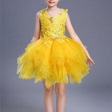 Модное летнее платье для девочек, расшитое блестками, без рукавов, красного, желтого цвета, с цветочной аппликацией, короткое платье с воздушным шаром, платье для девочек, костюм для детей