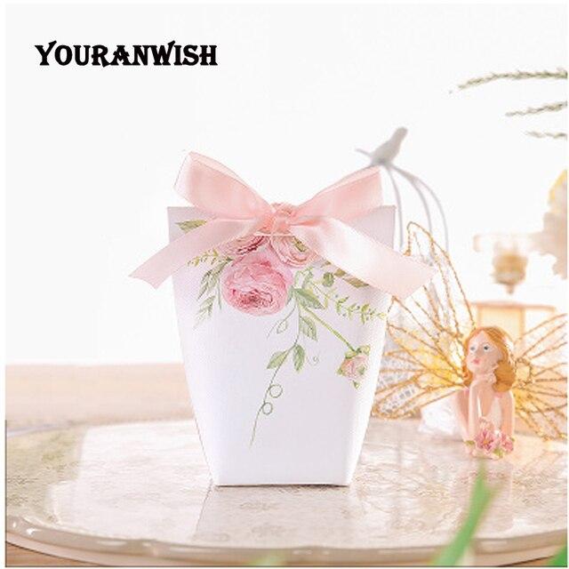 YOURANWISH boîtes cadeaux haut de gamme personnalisées pour mariage, bricolage, boîtes à bonbons à fleurs roses pour fête de bébé, lot de 50 pièces