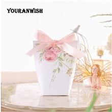 Youranwish caixa de doces personalizada, caixa de papel para presente de casamento, lembrancinhas de flores rosa ou caixa de doces 50 pçs/lote