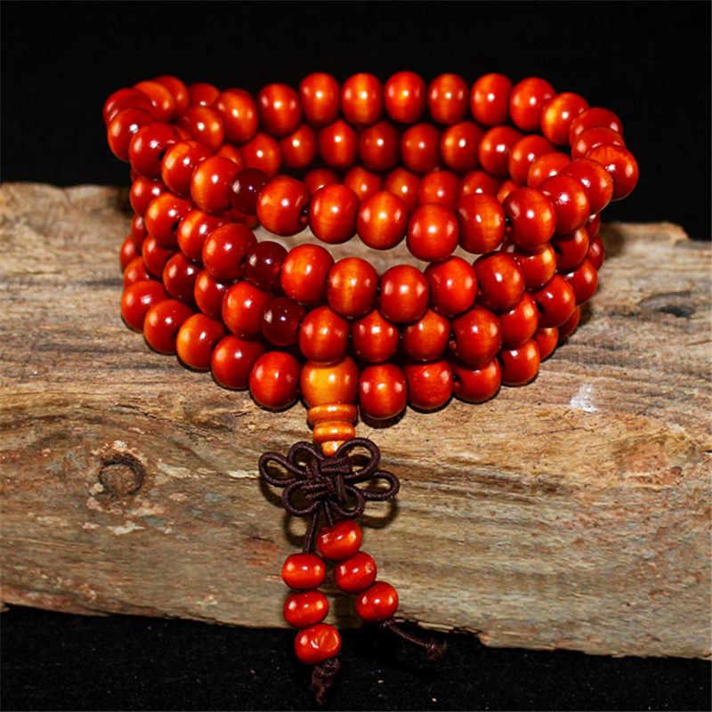 108 8 มม.ไม้จันทน์ธรรมชาติพระพุทธรูปไม้ลูกปัด Knot สีดำ Ebony Unisex ผู้ชายกำไลและกำไลข้อมือสำหรับผู้หญิง