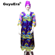 GuyuEra 2019 New African Dresses for Women Cotton 100% Bazin Wax Embroidery Flower and Lace Long Sleeves Plus Headscarf 2XL-4XL