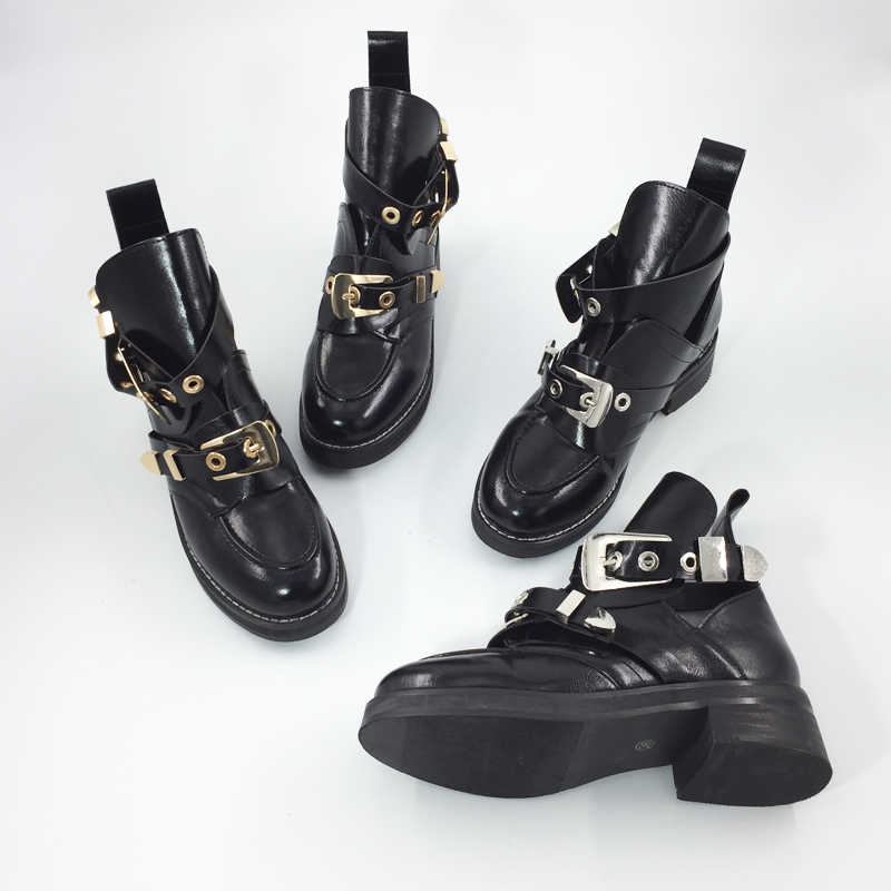 0a5fd8529fe ... Teahoo Gold Silver Buckle Ankle Boots for Women Fashion Cut out  Gladiator Low Heel Shoes Motorcycle ...