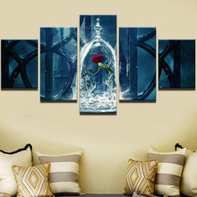 Artryst Canvas Home Decor Living Room HD Printed Wall Art 5 Pieces Beauty And The Beast Painting Red Rose Flower Movie Pictures