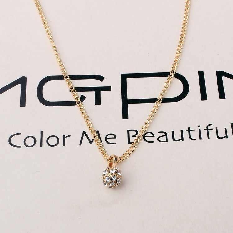 2016 proste moda kryształ wisiorek piłka Rhinestone długie Collares Mujer naszyjniki i Pendan wysokiej tekstury złoty naszyjnik