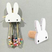 Creative Rabbit Shape Wall Hooks Decorative Wood Hook For Key Handbag Coat  Hanger Hook Kids Bedroom Kitchen Hooks