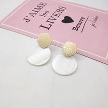 Fashion Luxury Jewelry Geometric Earrings Metal Sheet Natural Shell for Women Gift