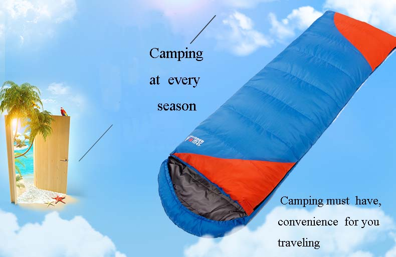 High quality outdoor camping sleeping bag for winter  adult  envelope hooded cotton sleep bag Free  shipping