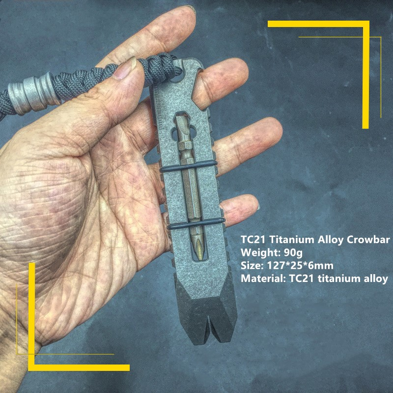 Titanium Alloy Crowbar Multifunctional Titanium Crowbar Bottle Opener Outdoor Tool Screwdriver Titanium EDC TC21 Crowbar защитная плёнка прозрачная deppa 61911 для ipad pro 9 7 ipad air ipad air 2 0 4 мм