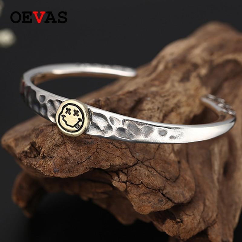 Thai argent tendance smiley couple bracelets marque de mode 925 Bracelet en argent Sterling pour les femmes S925 bijoux en argent hommes Bracelet