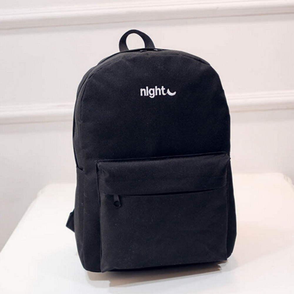 School bag embroidery - Men Women Fashion Canvas Day And Night Embroidery Lovers Backpacks School Bag For Teenagers Student Book