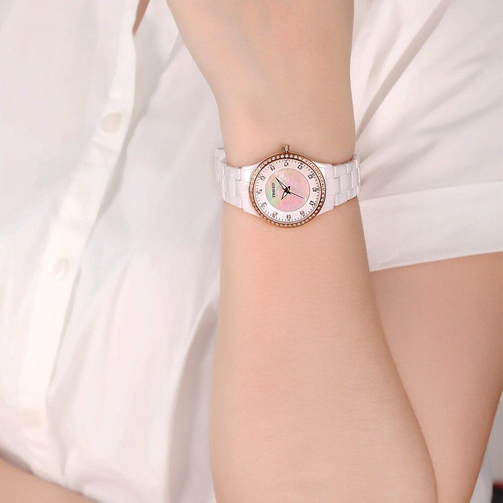Saat100 Yeni Qadın Seramik Qol Saatları Lüks Moda ağ Yüksək - Qadın saatları - Fotoqrafiya 6