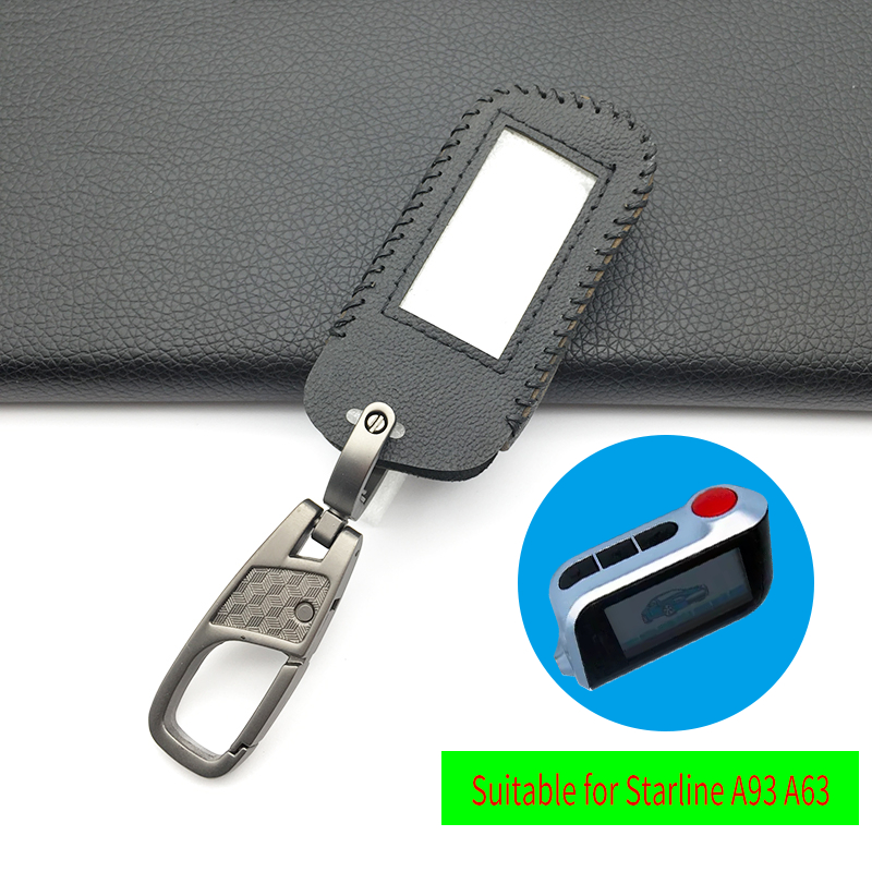 For Starline A93 / A63 Leather Key Case For Russian Version In Two-Way Car Alarm Remote Control LCD Key Fob Cover Protect Shell