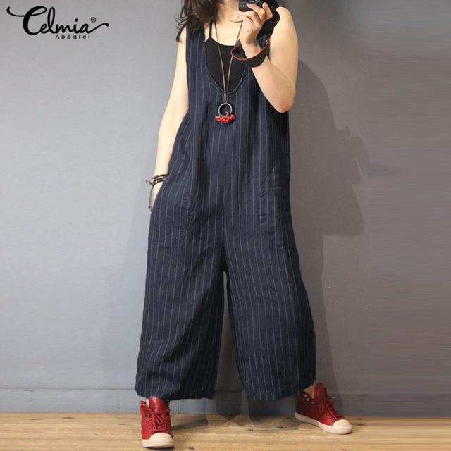 91e0be98d91 Celmia Women Jumpsuits Vintage Cotton Linen Wide Leg Pants 2018 Summer  Striped V Neck Sleeveless Casual Loose Plus Size Overalls
