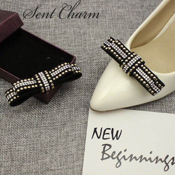 1 Pair Fashion Shoe Decoration With Crystal For Women Bowknot Accessory For High Heels Loafers