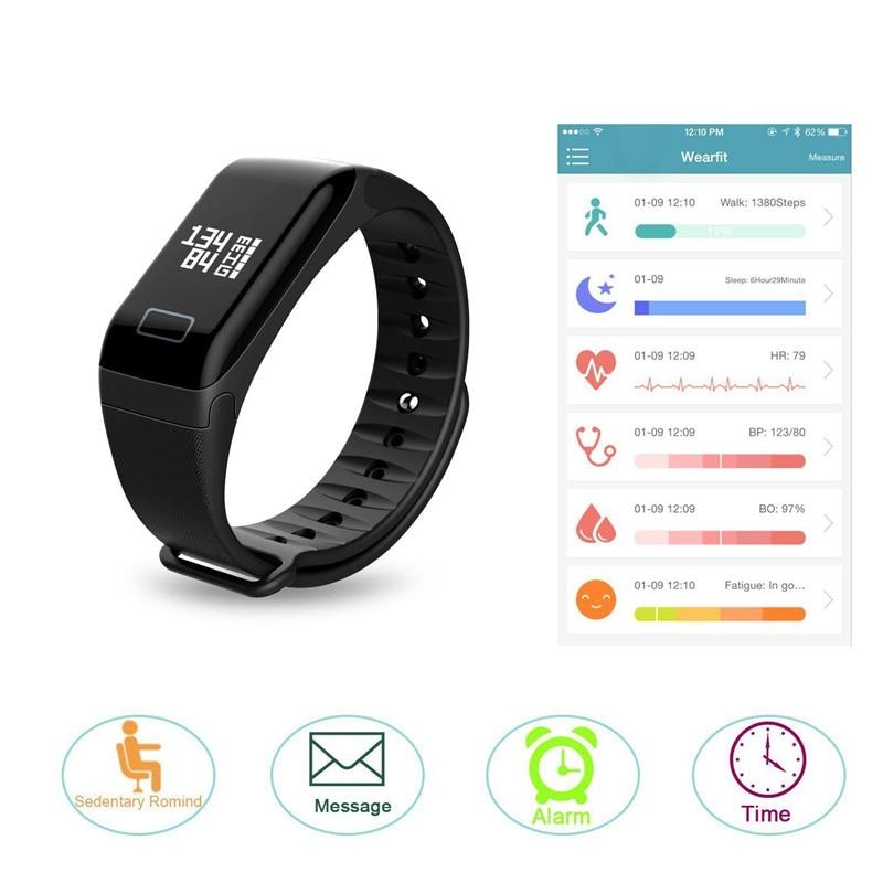 VERYFiTEK F1 Smart Wristband Blood Pressure Heart Rate Monitor Waterproof Blood Oxygen Fitness Tracker Bracelet for IOS Android
