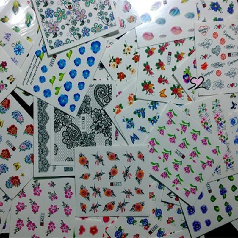 50pcs Watercolor Floral Flower Sticker Nail Decals Set 6.1*5.3cm Bowknot Love Feather Designs Gel  Decor Water Slider