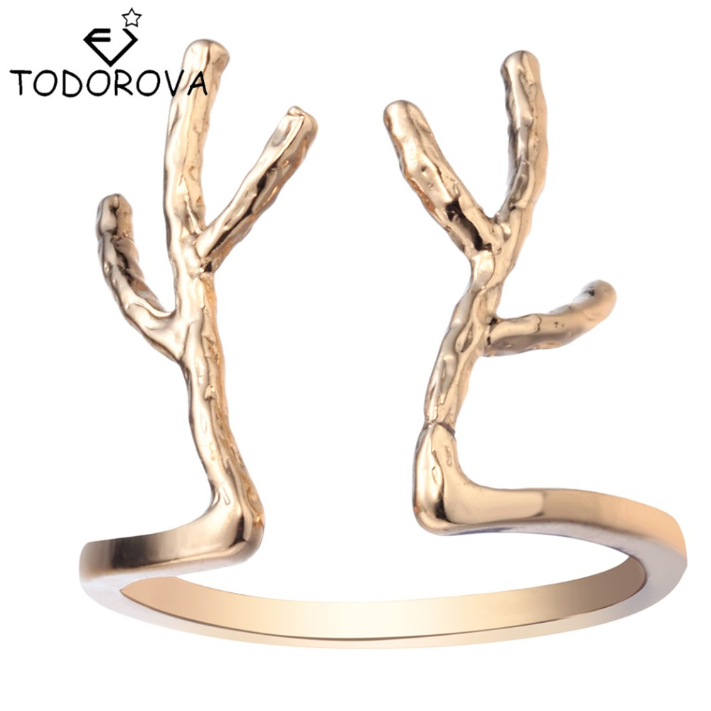 Todorova Adjustable Cute Deer Antler Rings Double Antlers Stag Animal  Reindeer Tree Branch Rings For Women