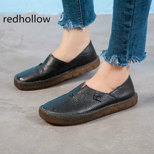 2019 Women Shoes Spring Summer Flat Loafers Genuine Leather Slip on Casual Shoes for Women Vintage Hand Made Flats High Quality