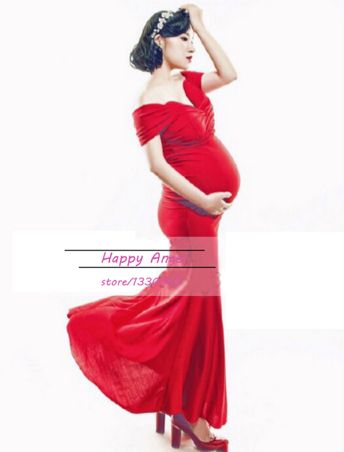 New pregnant Maternity women Photography Props sexy Dress Pregnancy Photography Pure Red Romantic clothing Free size Baby Shower